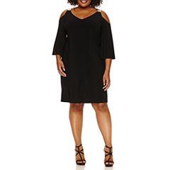 Msk 3/4 Sleeve Cold Shoulder Knit Sheath Dress-Plus