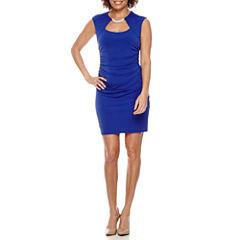 Blu Sage Sleeveless Embellished Neck Sheath Dress-Petites