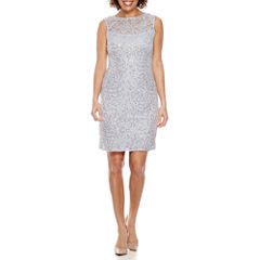 Blu Sage Sleeveless Sequin Lace Sheath Dress-Petites