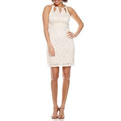 Melrose Sleeveless Lace Cutout Sheath Dress-Petites