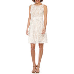 Danny & Nicole Sleeveless Belted Lace Fit & Flare Dress-Petites