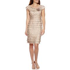 London Times Shutter Pleat Sheath Dress
