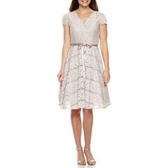 Jackie Jon Short Sleeve Fit & Flare Dress