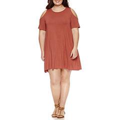 Arizona Cold Shoulder Swing Dresses-Juniors Plus