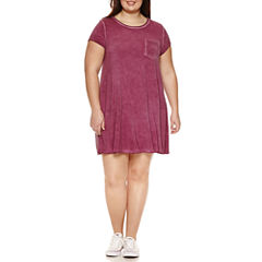 Arizona Short Sleeve Swing Dress-Juniors Plus