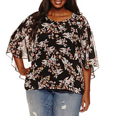 Boutique + Elbow Sleeve Woven Overlay Blouse-Plus