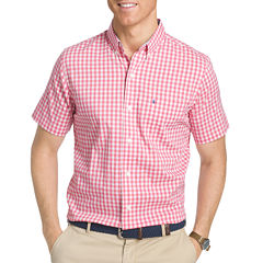IZOD Advantage Performance Short Sleeve Checked Button-Front Shirt