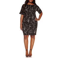 Boutique + Short Sleeve Bodycon Dress-Plus