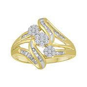 diamond blossom 1/2 CT. T.W. Diamond 10K Yellow Gold Triple-Cluster Slant Ring