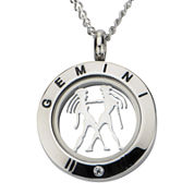 Gemini Zodiac Cubic Zirconia Stainless Steel Locket Pendant Necklace