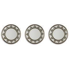 Set of 3 Metallic Starburst Mirrors