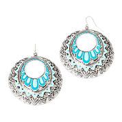 Decree® Blue Silver-Tone Circle Stamp Drop Earrings