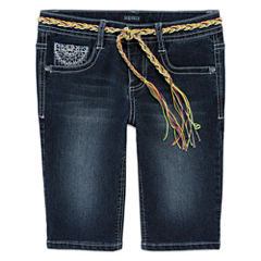 Squeeze Embroidered Denim Bermuda Shorts - Girls 7-14 and Plus