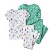 Carter's® 4-pc. Butterfly & Polka Dot Pajama Set - Baby Girls newborn-24m