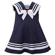 Bonnie Jean sleeveless nautical collar a line Dress - Baby Girls