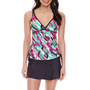 Free Country® Geo Linear Tankini Swimsuit Top or Swim Skirt