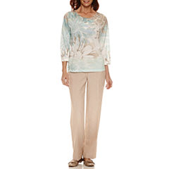 Alfred Dunner Ladies Who Lunch 3/4 Sleeve Floral T-Shirt