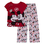 Disney Girls 2-pc. Short Sleeve Minnie Mouse Kids Pajama Set-Big Kid