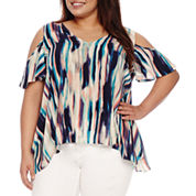 a.n.a Cold Shoulder Rayon Blouse-Plus