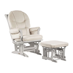 Dutailier®Ultramotion Multi-Position Sleigh Glider and Ottoman - Light Beige