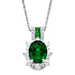 Lab-Created Emerald & White Sapphire Sterling Silver Starburst Pendant Necklace