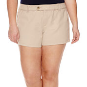 Arizona Cabo Mid-Rise Twill Shorty Shorts - Juniors Plus