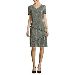 Connected Apparel Short Sleeve Shift Dress