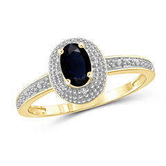 Womens Diamond Accent Blue Sapphire Gold Over Silver Halo Ring