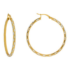 Textured Hoop Earrings 14K Gold Over Sterling Silver