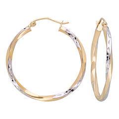 10K Gold Two-Tone Narrow Twisted Hoop Earrings