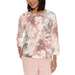 Alfred Dunner Rose Hill 3/4 Sleeve Floral Pullover Sweater