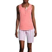 Earth Angels® Sleeveless Top and Bermuda Shorts Seersucker Pajama Set