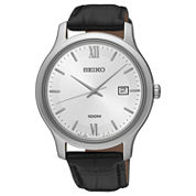 Seiko Mens Black Strap Watch-Sur225