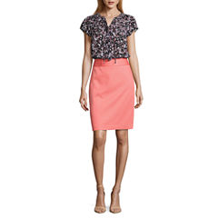 Liz Claiborne Short Flutter Sleeve Ruffle Front Blouse and Pique Pencil Skirt