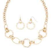 Liz Claiborne® Hammered Gold-Tone Necklace and Earring Set