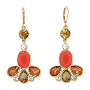 Monet® Orange Stone and Crystal Gold-Tone Linear Drop Earrings
