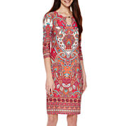 Tiana B. 3/4-Sleeve Paisley-Print Shift Dress - Tall