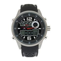 U.S. Polo Assn.® Mens Black Silicone Strap Analog/Digital Sport Watch