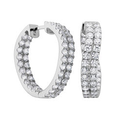 DiamonArt® Cubic Zirconia Sterling Silver Twist Inside-Out Hoop Earrings