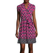 Liz Claiborne® Short-Sleeve Print Wrap Dress