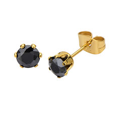 Black Cubic Zirconia 5mm Stainless Steel and Yellow IP Stud Earrings