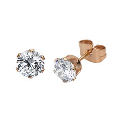 Cubic Zirconia 8mm Stainless Steel and Rose-Tone IP Stud Earrings