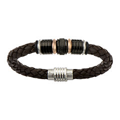 Mens Brown Braided Leather and Tri-Tone Stainless Steel Tube Bracelet