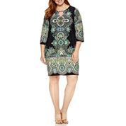 Tiana B 3/4 Sleeve Keyhole Knit Sheath Dress-Plus