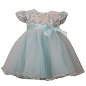 Bonnie Jean short sleeve embroidered bodice ballerina dress - Baby Girls