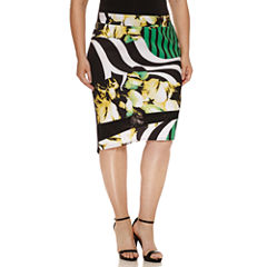 Bisou Bisou Mesh Insert Asymmetrical Skirt-Plus