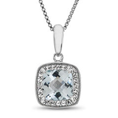 Womens Blue Aquamarine Pendant Necklace