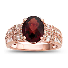 Womens Genuine Brown Garnet Gold Over Silver Cocktail Ring