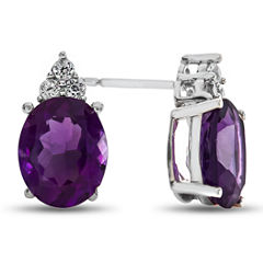 Oval Purple Amethyst Sterling Silver Stud Earrings
