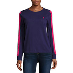 Us Polo Assn. Long Sleeve Crew Neck T-Shirt-Womens